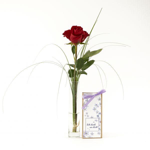 """Blumengruß """"Rote Rose"""" mit handgeschöpfter Schokolade """"Ich denk an dich!"""""""
