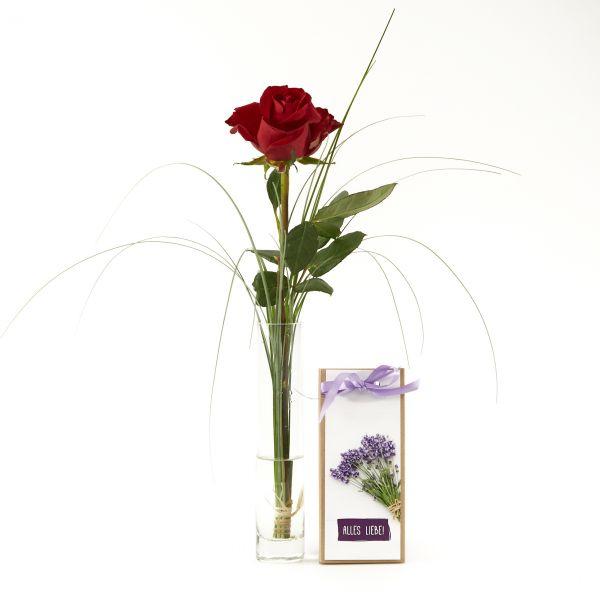 """Blumengruß """"Rote Rose"""" mit handgeschöpfter Schokolade """"Allles Liebe!"""""""