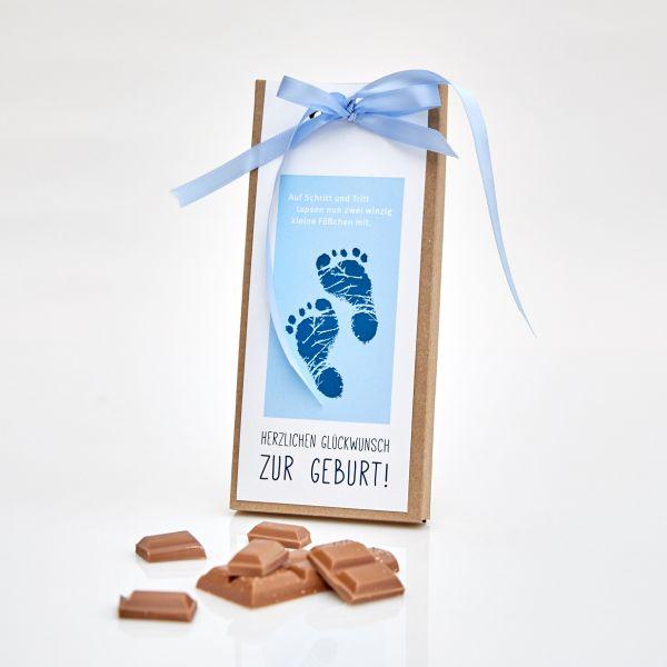 """Handgeschöpfte Tafelschokolade """"Zur Geburt – Junge"""""""