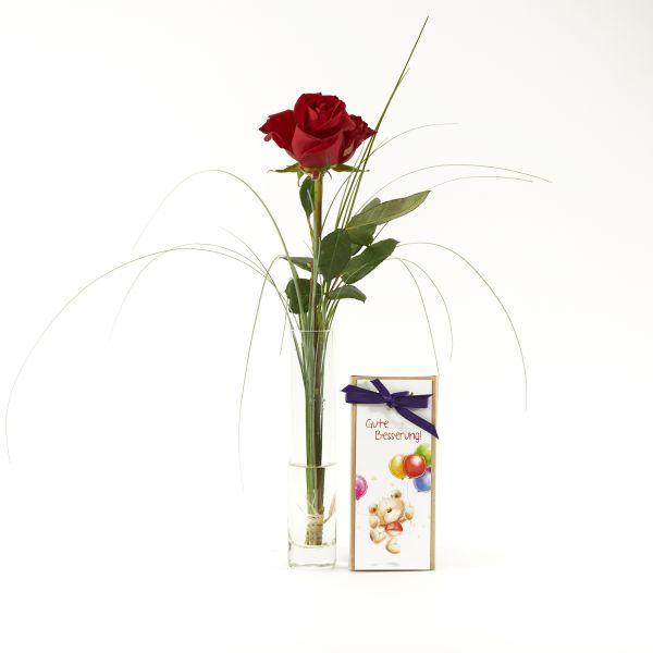 """Blumengruß """"Rote Rose"""" mit handgeschöpfter Schokolade """"Gute Besserung"""""""