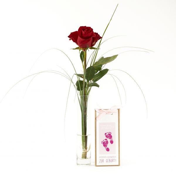 """Blumengruß """"Rote Rose"""" mit handgeschöpfter Schokolade """"Glückwunsch zum Mädchen"""""""