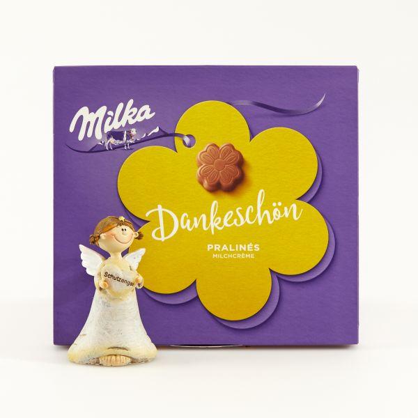 """Milka Pralinés """"Kleines Dankeschön"""" mit Schutzengelfigur"""