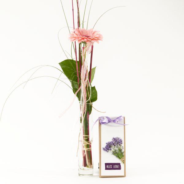 """Blumengruß """"Gerbera"""" mit handgeschöpfter Schokolade """"Alles Liebe!"""""""