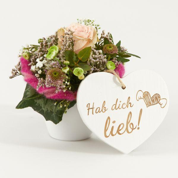 """Blumengruß """"Rose"""" mit Holzherz """"Hab´dich lieb!"""""""