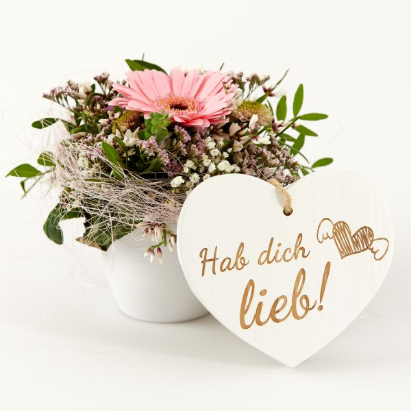 """Blumengruß """"Gerbera"""" mit Holzherz """"Hab´dich lieb!"""""""