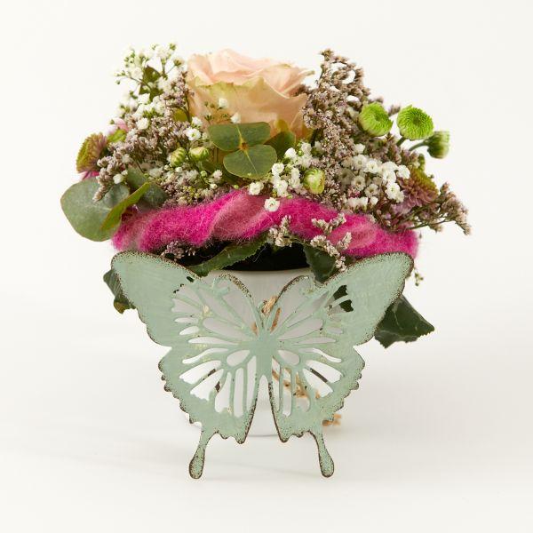 """Blumengruß """"Rose"""" mit Schmetterlings-Anhänger"""