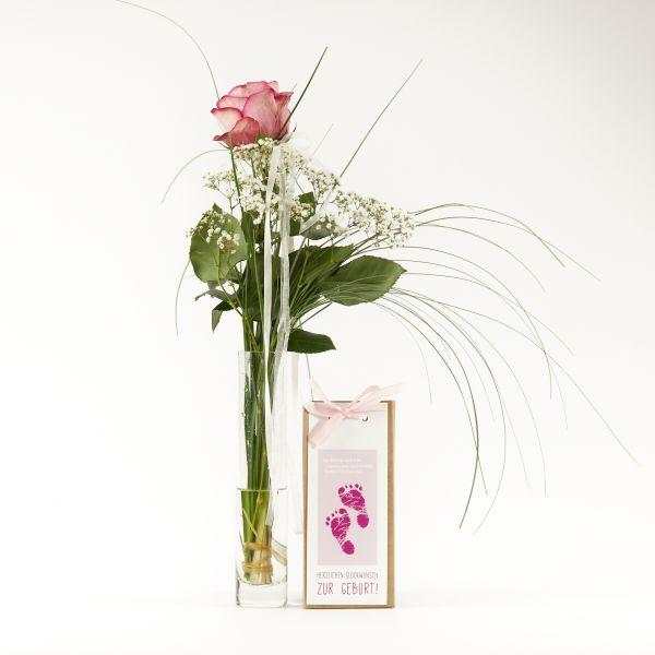 """Blumengruß """"Roséfarbene Rose"""" mit handgeschöpfter Schokolade """"Glückwunsch zum Mädchen"""""""