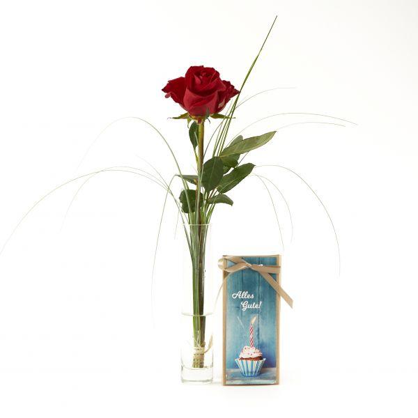 """Blumengruß """"Rote Rose"""" mit handgeschöpfter Schokolade """"IAlles Gute!"""""""