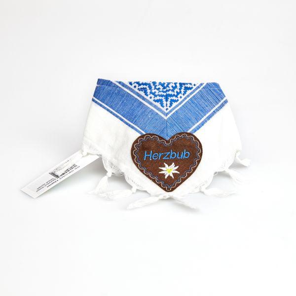 """Babyhalstuch Stickerei """"Herzbub"""" blau/weiß"""