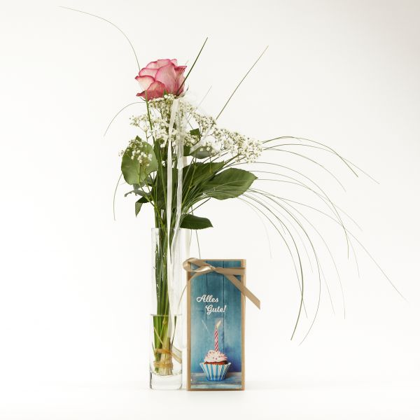 """Blumengruß """"Roséfarbene Rose"""" mit handgeschöpfter Schokolade """"Alles Gute!"""""""